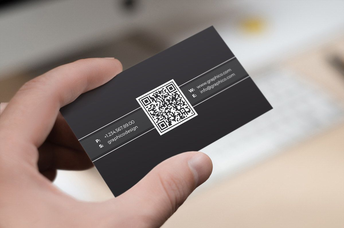 Simple Qr Code Business Card Design Template Photoshop Etsy In 2021 Qr Code Business Card Metal Business Cards Business Card Design