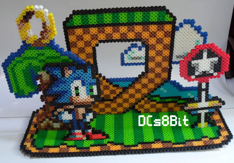 Custom 3D Perler Pixel Art Sonic the Hedgehog