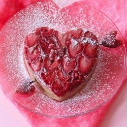 Strawberry Heart Upside Down Cake #food #cooking #sweet #dessert #baking #recipe
