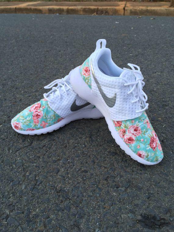 61ba69846fbf Custom Nike Roshe Run White White Rose Floral by customkicksworld ...