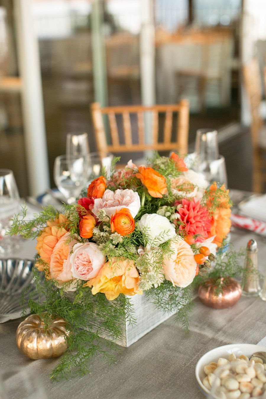 #centerpiece #fall | See the #Wedding:  http://stylemepretty.com/2013/01/28/cape-cod-wedding-from-lovely-little-details