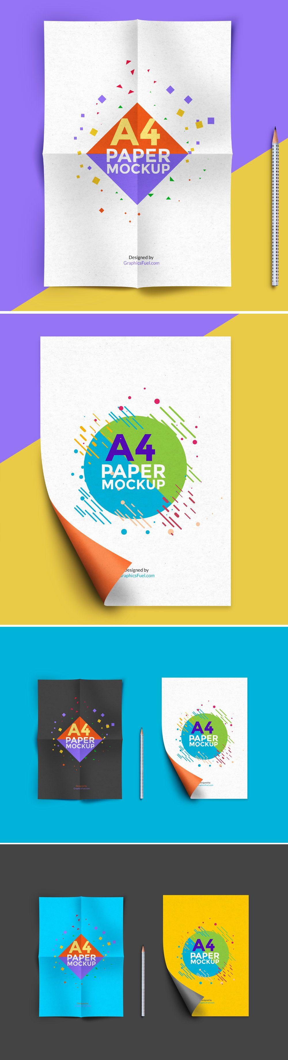 A4 Paper Mockup PSD | Pinterest | Plantillas de papel, Maquetas y ...