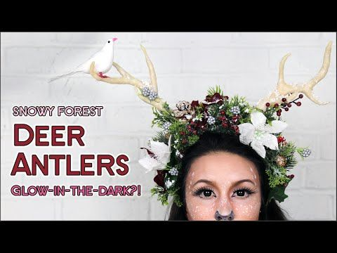forest deer fawn antler diy floral halloween headpiece costume youtube