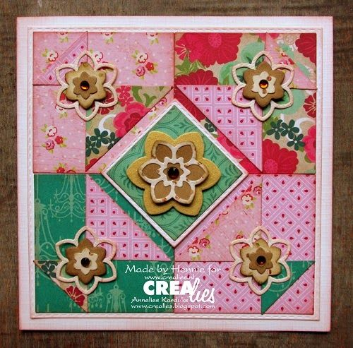 Made by Hennie: https://www.crealies.nl/detail/1302643/15-05-30-hennie.htm & http://crealies.blogspot.nl/2015/05/paper-patch-so-lovely.html Crealies items: Modern Patchwork no. 2 Crea-Nest-Lies XXL no. 22 Duo Dies no. 21 Bloemen 12/Flowers 12 Set of 3 stansen no. 21 Bloemen 12/Flowers 12
