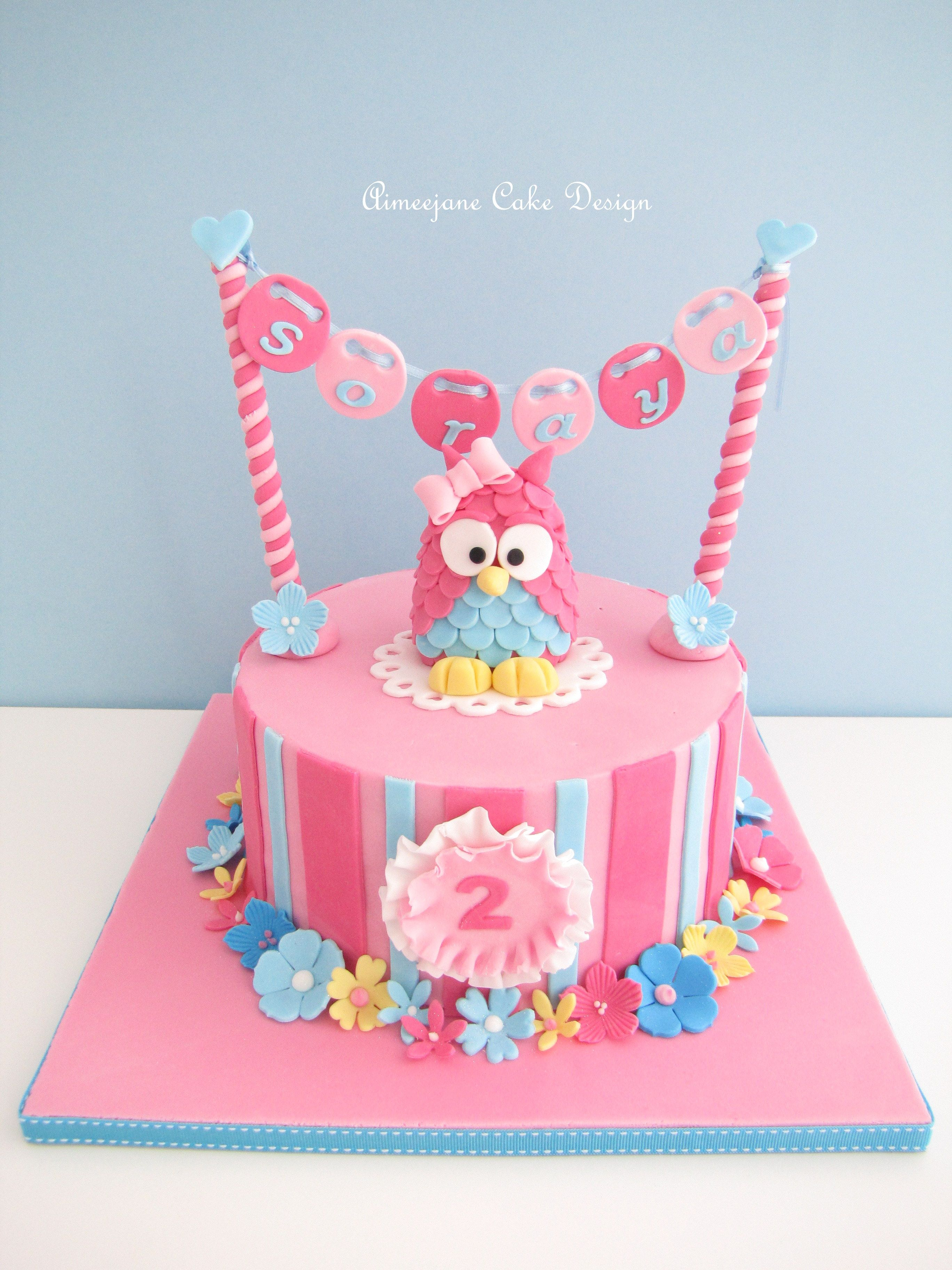 Pink Owl 2nd Birthday Cake With Hanging Name So Adorable