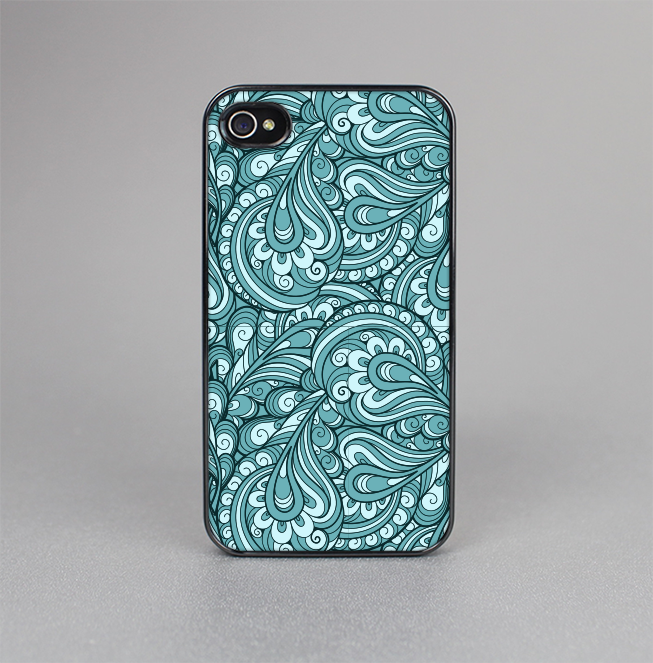 The Abstract Blue Feather Paisley Skin-Sert for the Apple iPhone 4-4s Skin-Sert Case