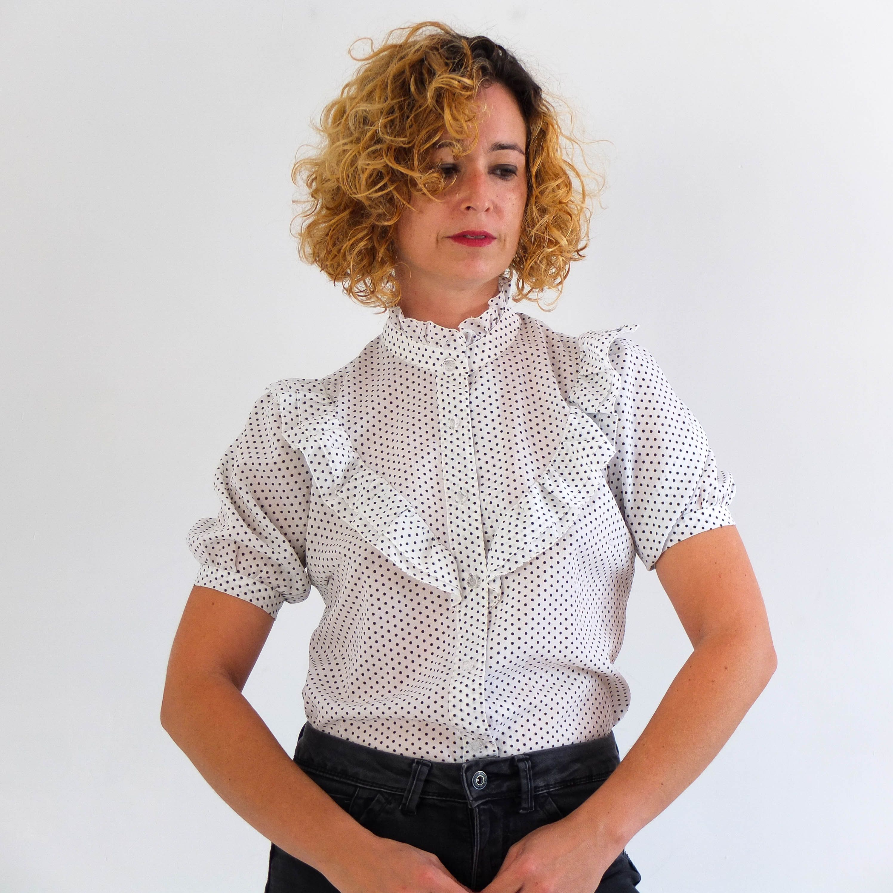 Vintage Black Puff Sleeve Pleated Shirt Size ML