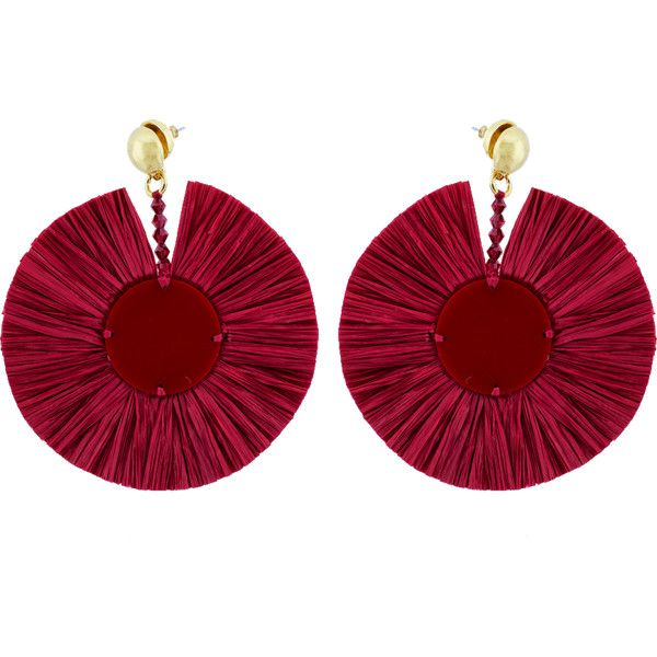 Oscar De La Renta small raffia disk earrings - Red