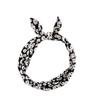 *NEW LOOK || Black daisy print bow headband | Diadema negra con estampado de margaritas
