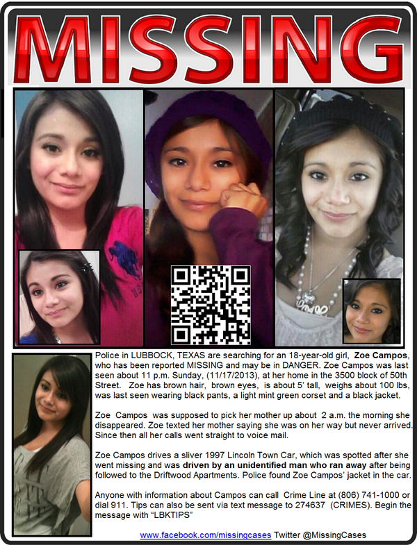 Missing 17 Year Old Girl Believed To Be In Eureka: Zoe Campos, Missing Nov 17, 2013 From Lubbock,Texas