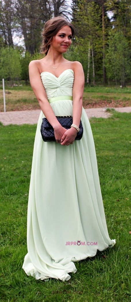 Hot Selling Prom Dresses A Line Floor Length Sweetheart Chiffon Belt Color Sage Discount Price Fast Delivery Item Code:#JRPX2FXA7C
