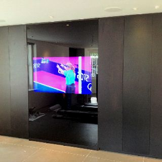 Our Black Gl Feature Wall With A Hidden 55 Tv Inside Mirror