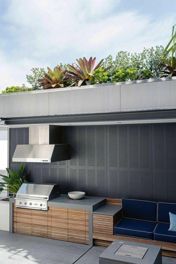 cuisine dt au design contemporain en bton et bois avec barbecue