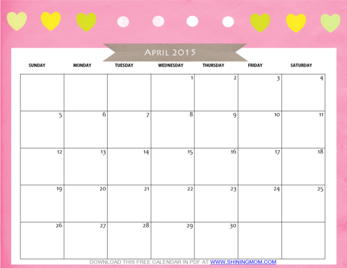 Free Printable April 2015 Calendar By Free Printable Classroom