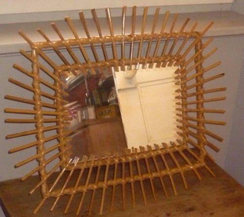 Miroir soleil rotin osier bambou vintage annees 70 for Miroir rotin osier