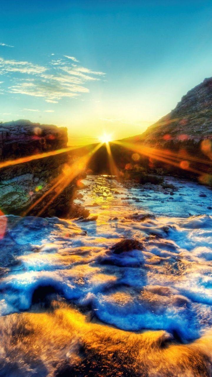 720x1280 wallpaper light, foam, sky, sunset, bright | nature
