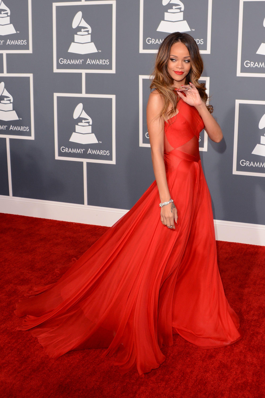 Rihanna wearing Azzedine Alaïa at the 2013 Grammy Awards ...