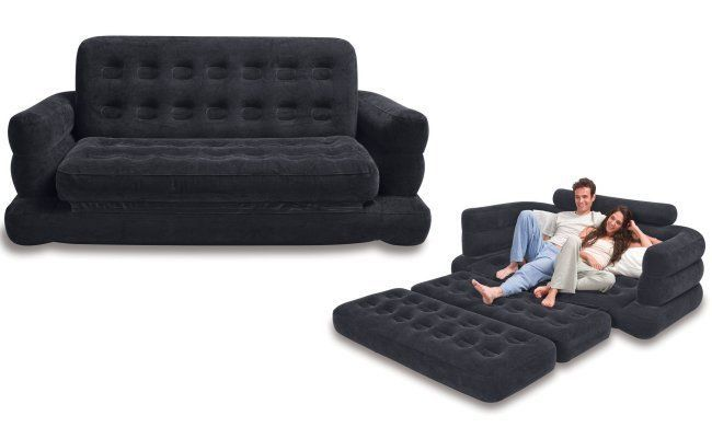 Details About Intex Inflatable Queen Size Pull Out Futon Sofa