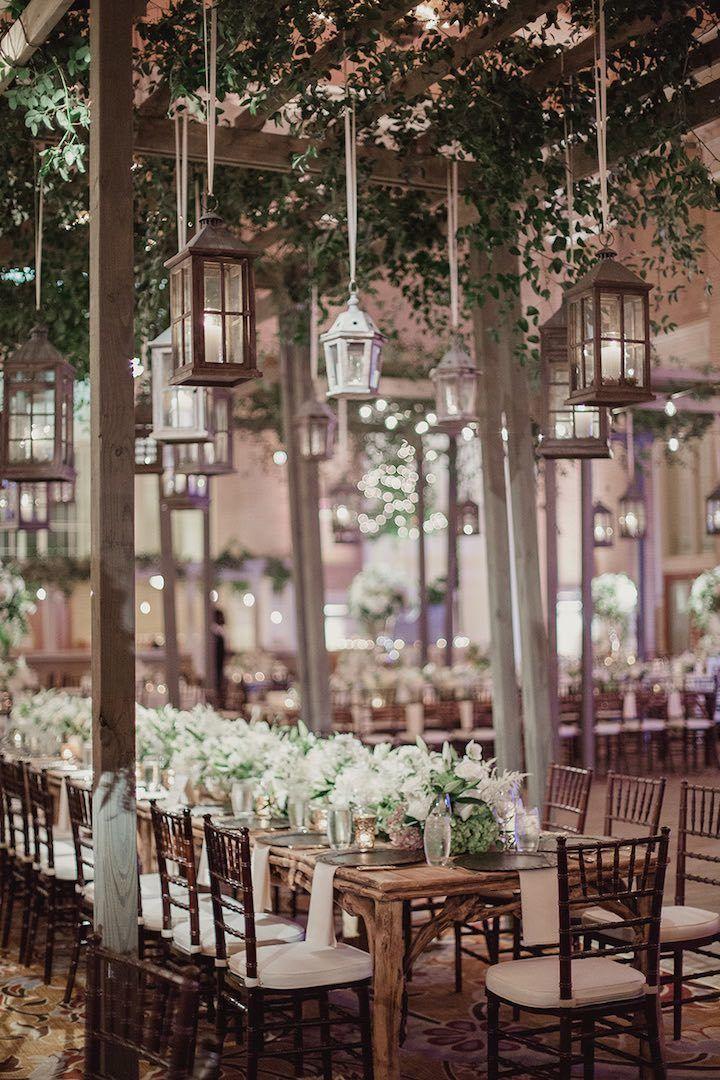 Dallas Wedding With Glam Indoor Garden Style Wedding Lanterns
