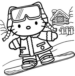 Christmas Day Hello Kitty Coloring Page Hello Kitty Colouring