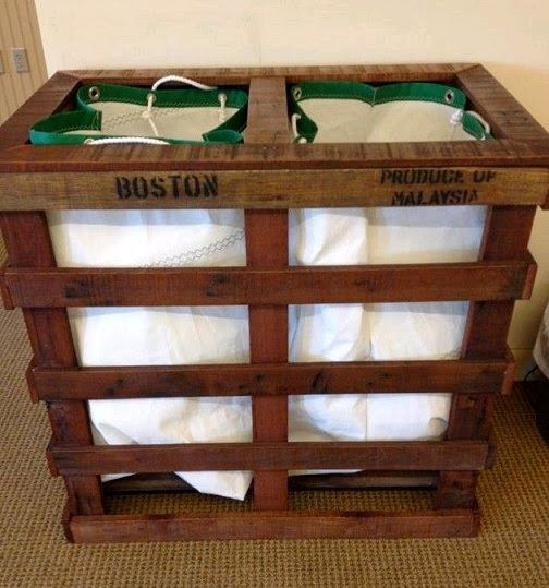 Laundry Bin Made From Two Wood Pallets Ba Pallet Furniture - Ideas-para-reciclar-unos-palets