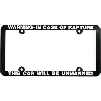 In Case Of The Rapture This Car Be Will Be Unmanned License Plate Frame Tag