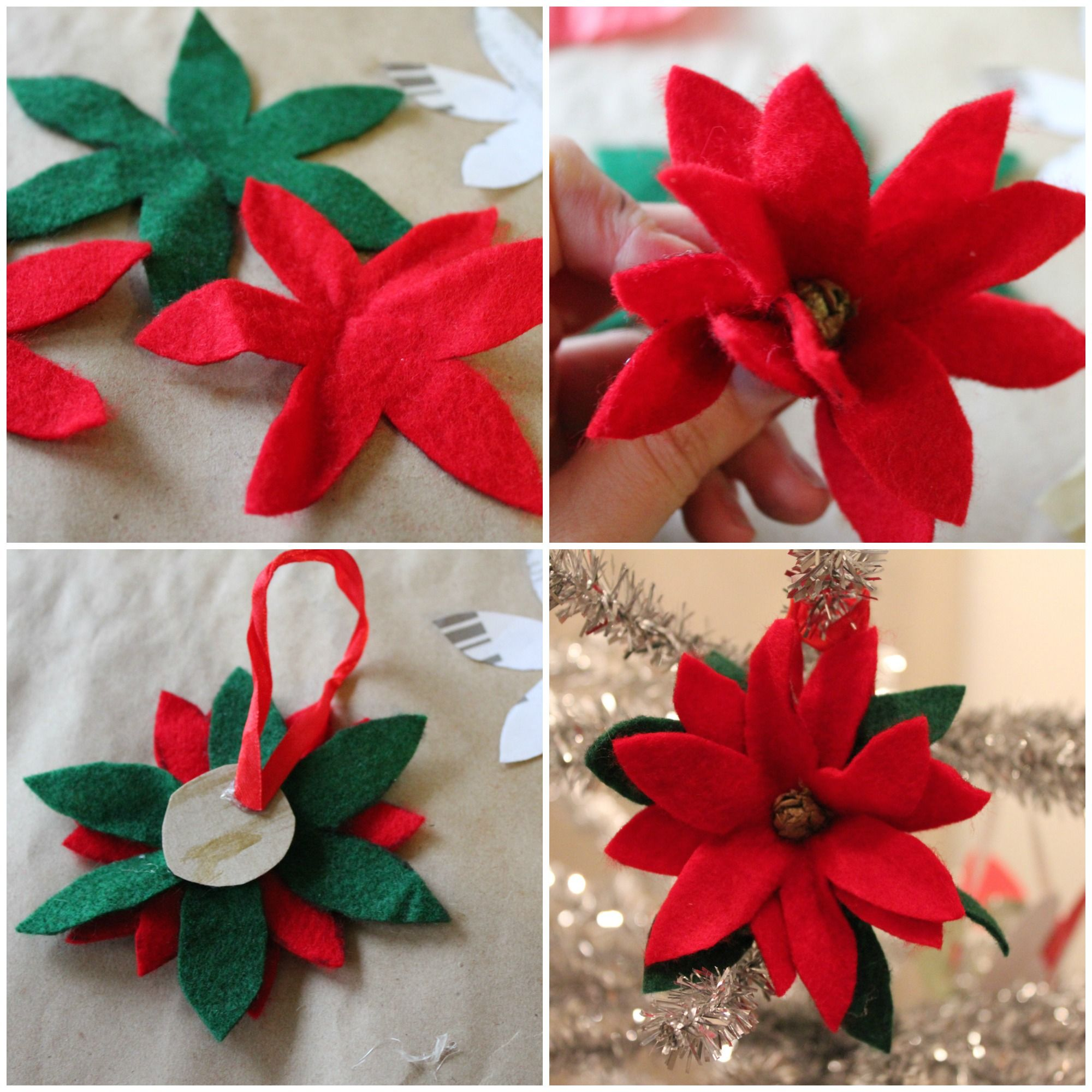 Poinsetta ornament Collage Diy christmas ornaments