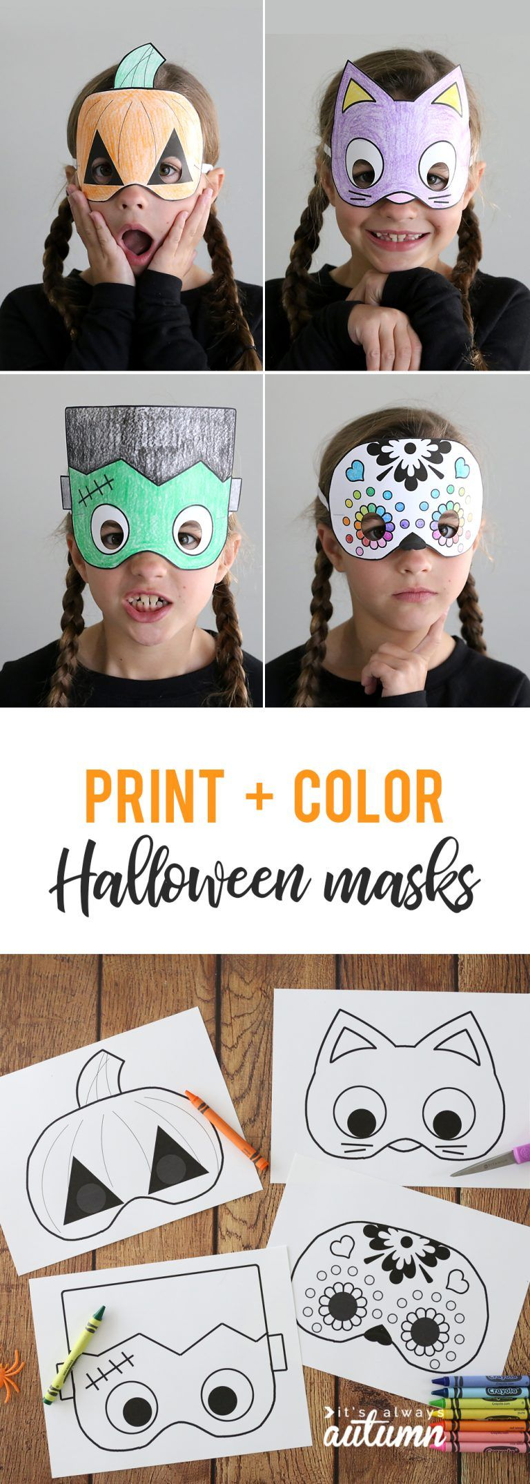 Halloween masks to print and color #halloweencraftsfortoddlers