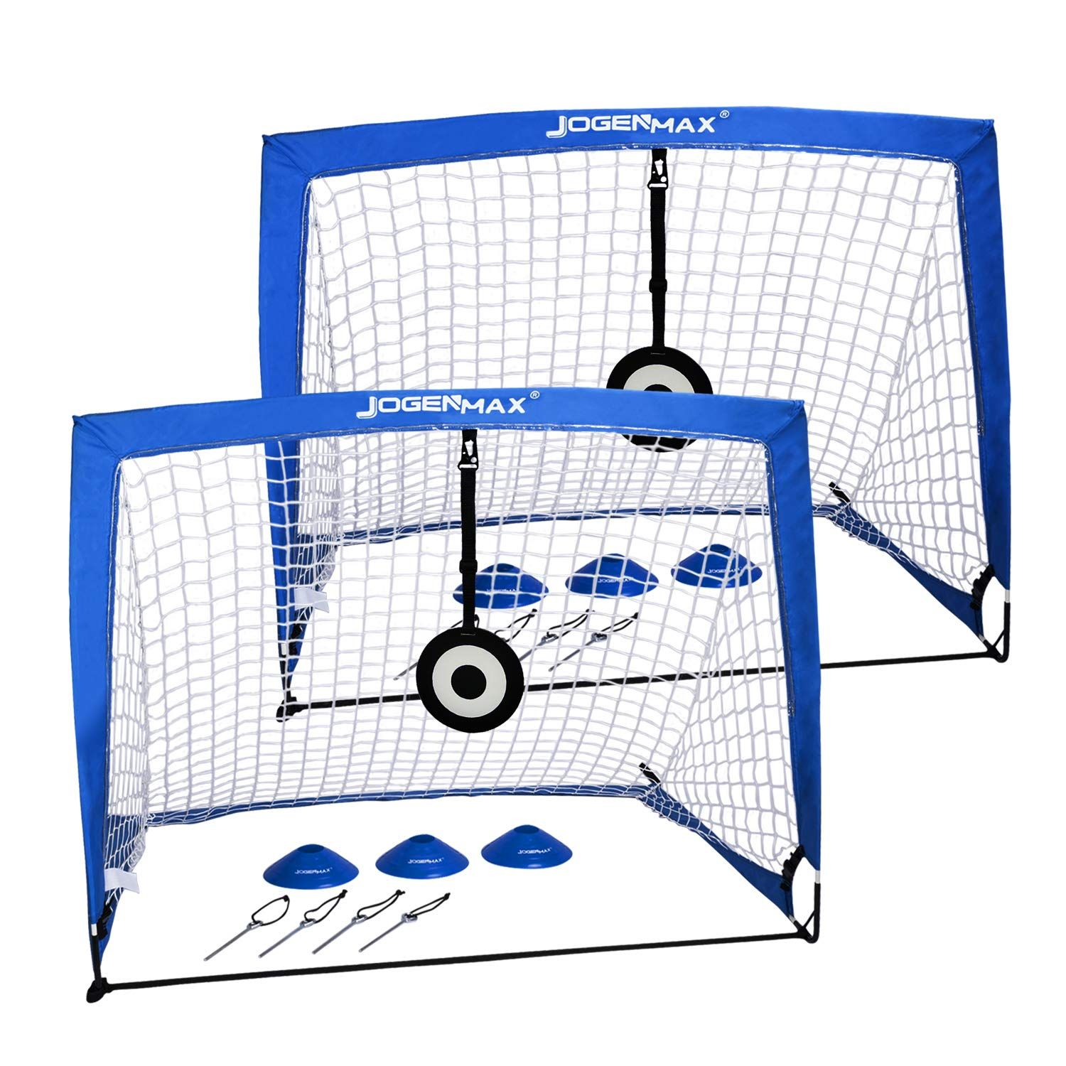 Jogenmax Portable Soccer Goal Pop Up Goal Nets With Aim Target Set Of 2 With Agility Training Cones Led Lights And Portable Soccer Goals Goal Net Soccer Goal