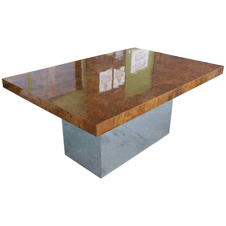 Milo Baughman Extendable Dining Table Of Burl Wood Tiles On Chrome