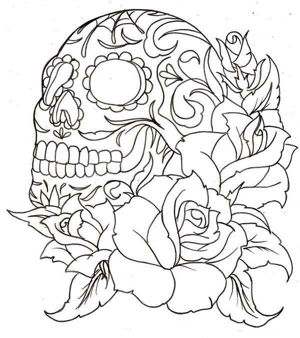 Schädel 27 Ausmalbilder für Kinder. Malvorlagen zum ausdrucken und ausmalen #tattooskullflowers