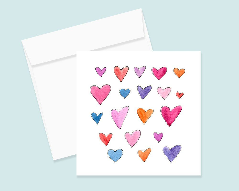 Watercolor Hearts Notecard And Envelope Single Or Set Of 4