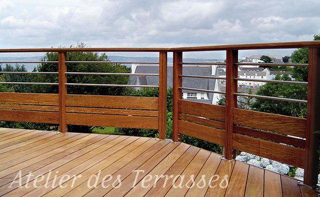Garde-corps bois-inox - FC Terrasse Bois terrasse Pinterest