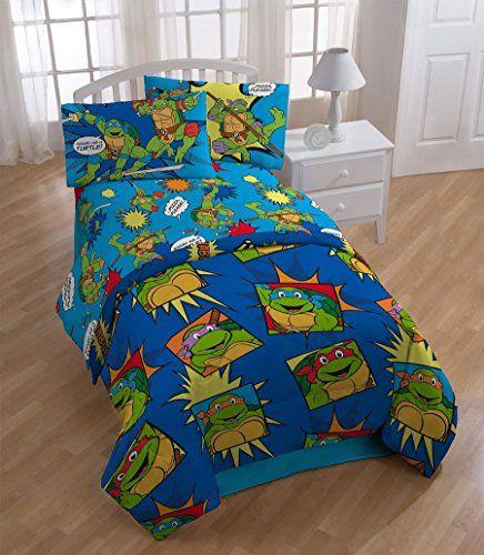 4pc Teenage Mutant Ninja Turtles Twin Bedding Set Tmnt Team Turtles Comforter And Sheet Set Ninja Turtle Bedroom Twin Bed Sets Kids Bedding Sets