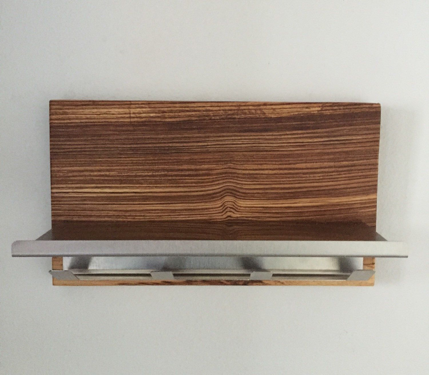 New Modern Zebra Wood Stainless Steel Magazine Rack Mail