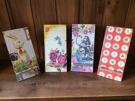 Mobili Decoupage ~ Iphone mobile phone charger stand handmade decoupage finish for