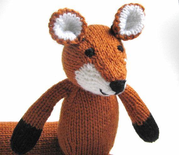 Knitting Stuffed Animals : Hand knitted fox stuffed animal kids toy soft knit