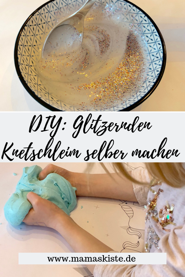 DIY für Kinder: Glitzernden Knetschleim einfach selber machen - mamaskiste.de #nikolausgeschenkeselbermachen