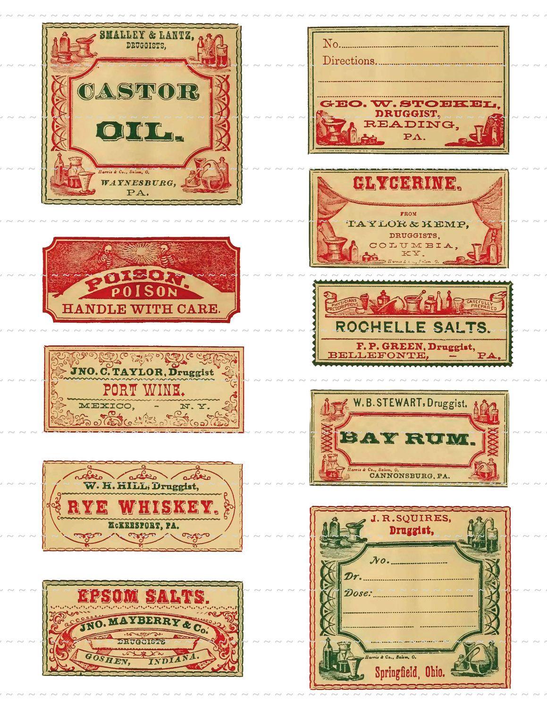 Digital Download Collage Sheet Antique 1800 S Vintage Druggists Apothecary Pharmacy Labels Castor Oil 9 113 Collage Sheet Vintage Labels Apothecary Labels