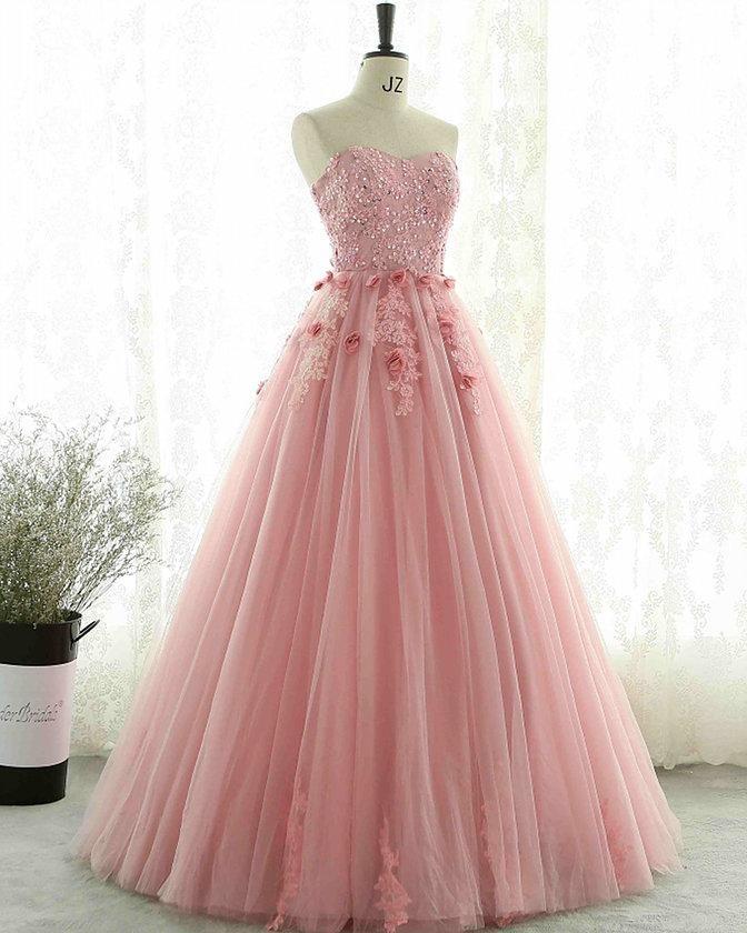 Elegant Strapless Pink Tulle Ball Gown Prom Dresses   Elegant Prom ...