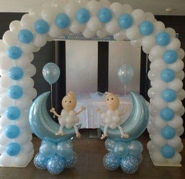 Sencilla decoracion de globos para bautizo de ni o for Decoracion bautizo en casa