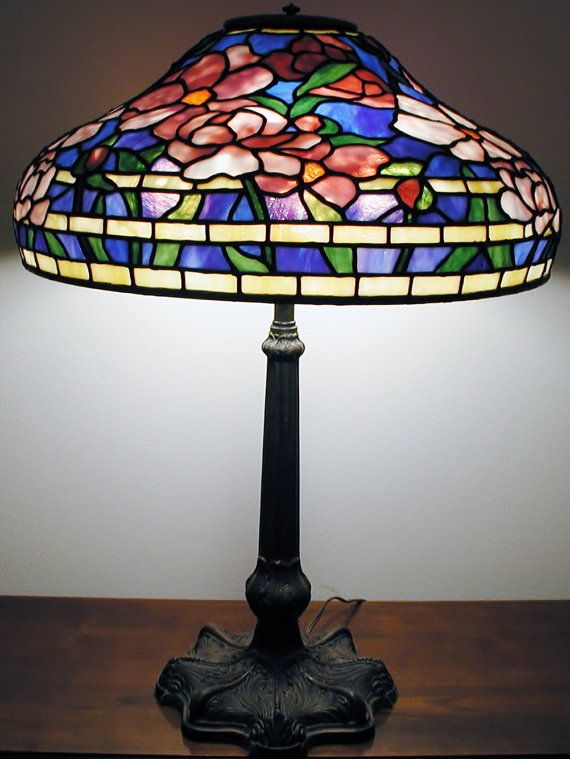 Summer Peony Table Lamp // Large Tiffany Lamp // Romantic Gift // Stained