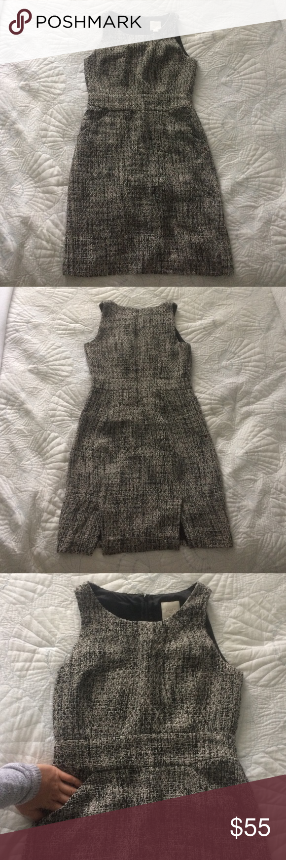 Jcrew tweed dress J. Crew black and white tweed dress. Fully functional front pockets with a fitted waist. Zips in the back. Size 8. Like new. Perfect for work & chic enough for happy hour! J. Crew Dresses Mini