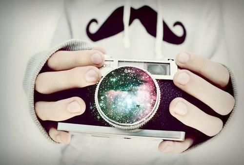 Imagen de camera, mustache, and galaxy