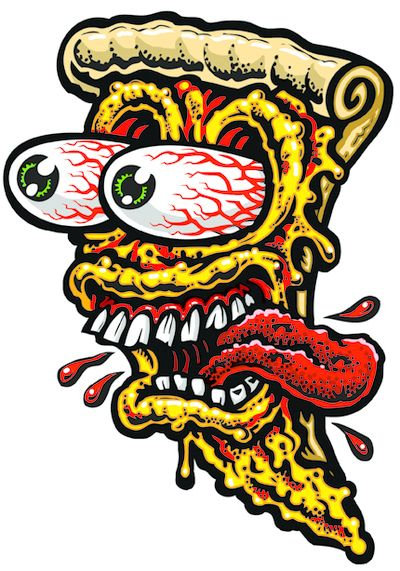 Large Pizza Face 2 Full Color Shaped Vinyl Sticker From