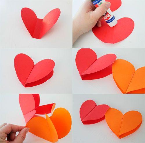 Como hacer una guirnalda con corazones de papel - Como hacer un corazon con fotos ...