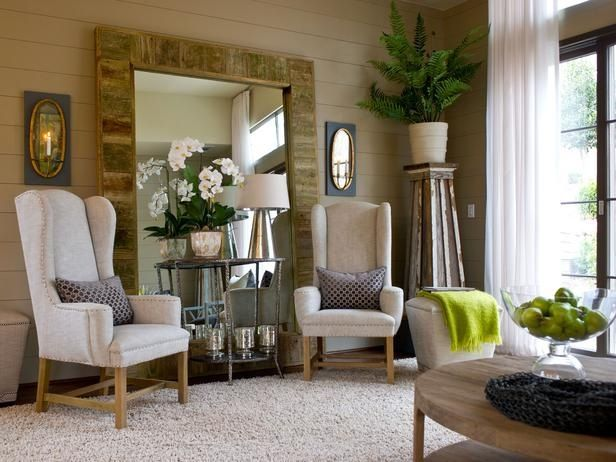 area mirror tables for living room. Sitting room  Large mirror 2 chairs and end table Aka I need Upcycling Design Mirrors Framed with Reclaimed Wood