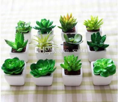 Elegant 2018 New Arrive Decorative Flower Pots Planters Artificial Plants With Vase  Bonsai Tropical Cactus Fake Succulent Plant Potted On The Desk From Santi,  ...