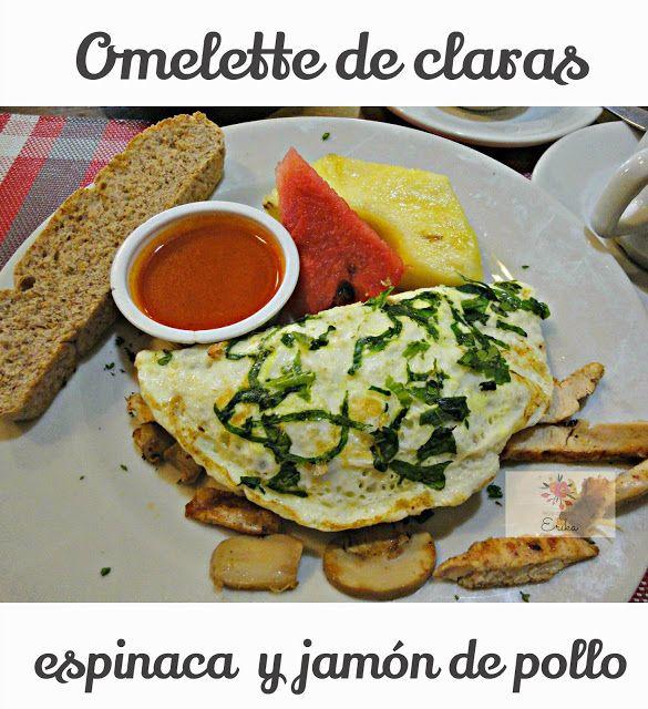 Omelette de claras ,  espinaca y jamón de pollo