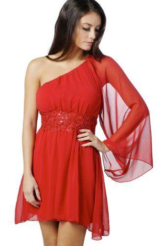 Amazon.com: AX Paris One Sleeve Embellished Waist Chiffon Dress: Clothing